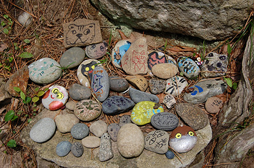 pile of small rocks with cat pictures on them