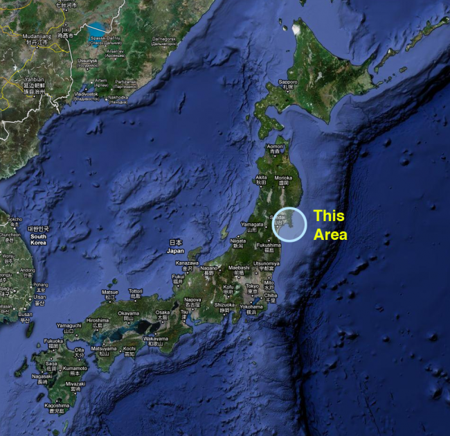 satellite view of Japan with area circled