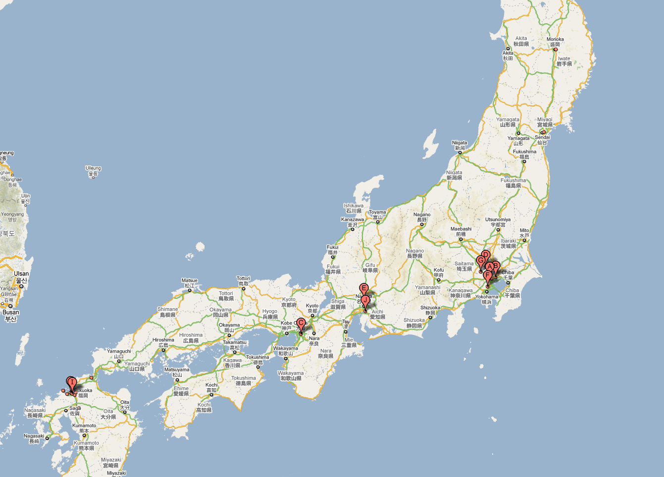 Location of a variety of Zauo restaurants in Japan
