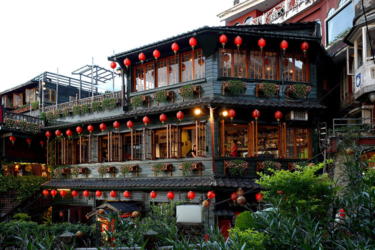 jiufen taiwan tea house three floors lanterns