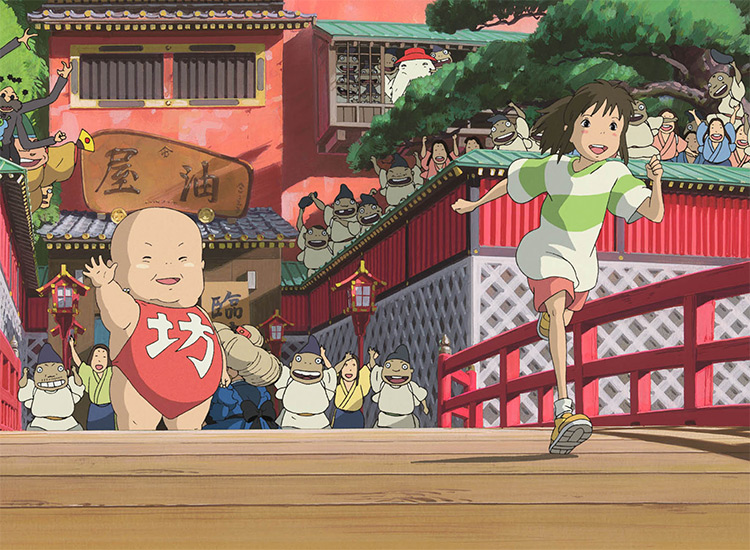 still from spirited away giant baby waving on the bridge
