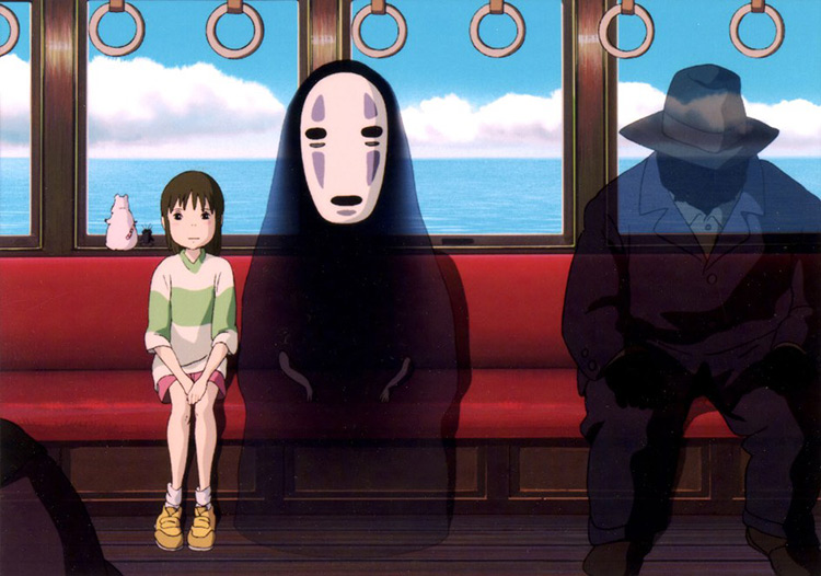 still from spirited away bad guy dissappearing on the train
