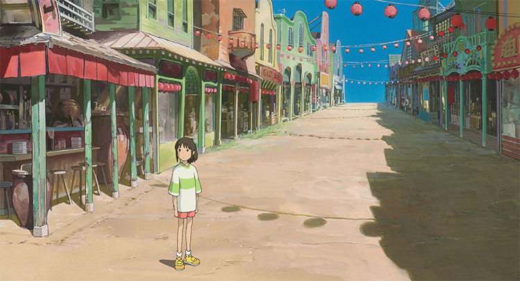 spirited away still ghibli girl in empty street