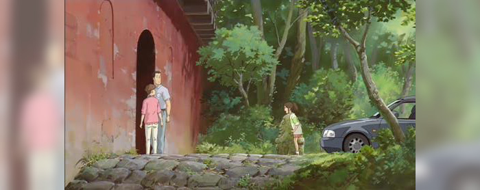 spirited away still parents about to walk into the tunnel