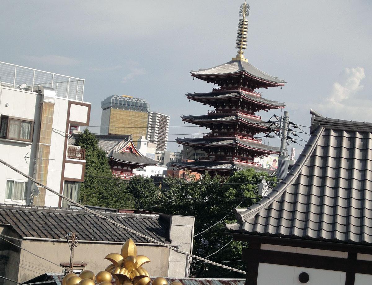 view of senso-ji from amusement park