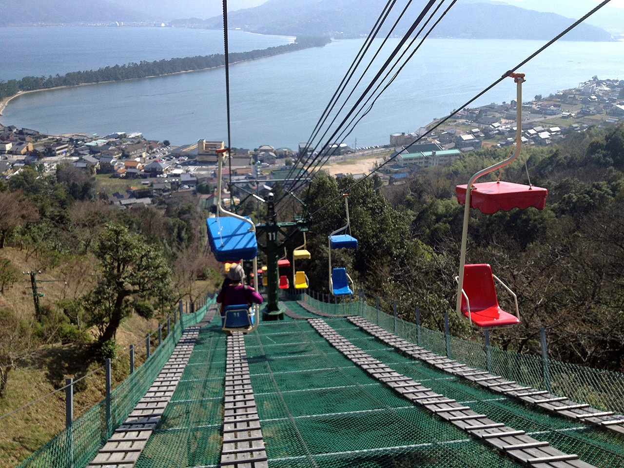 gondolas over amanohashidate in japan