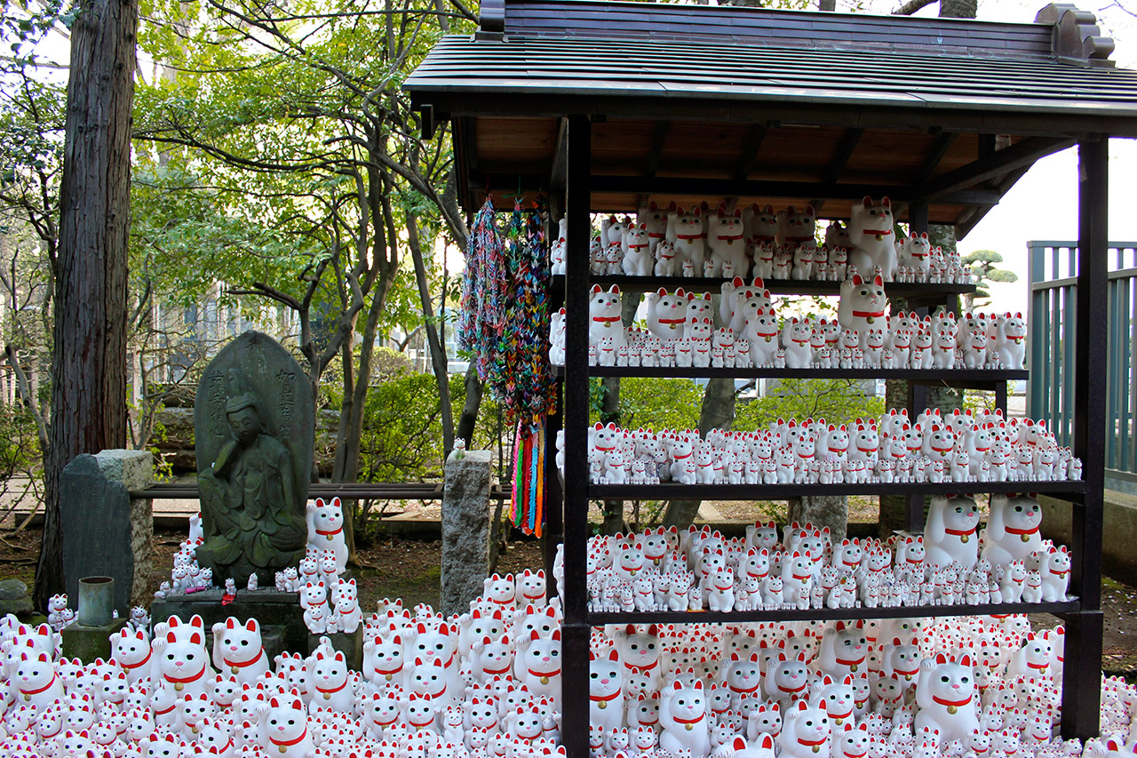 shrine with many cats