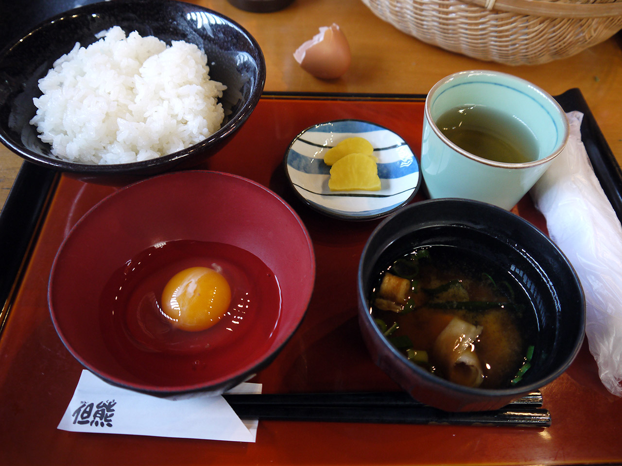 japanese lunch tamago kake gohan raw egg on rice