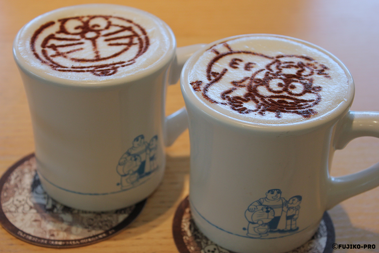 latte art coffee with japanese cartoon character doraemon