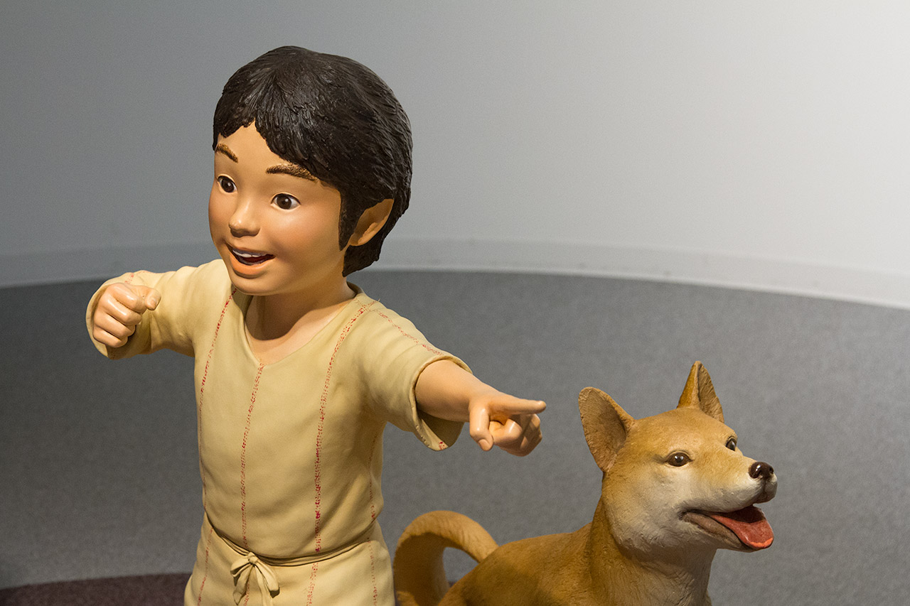 Jomon boy and dog replica