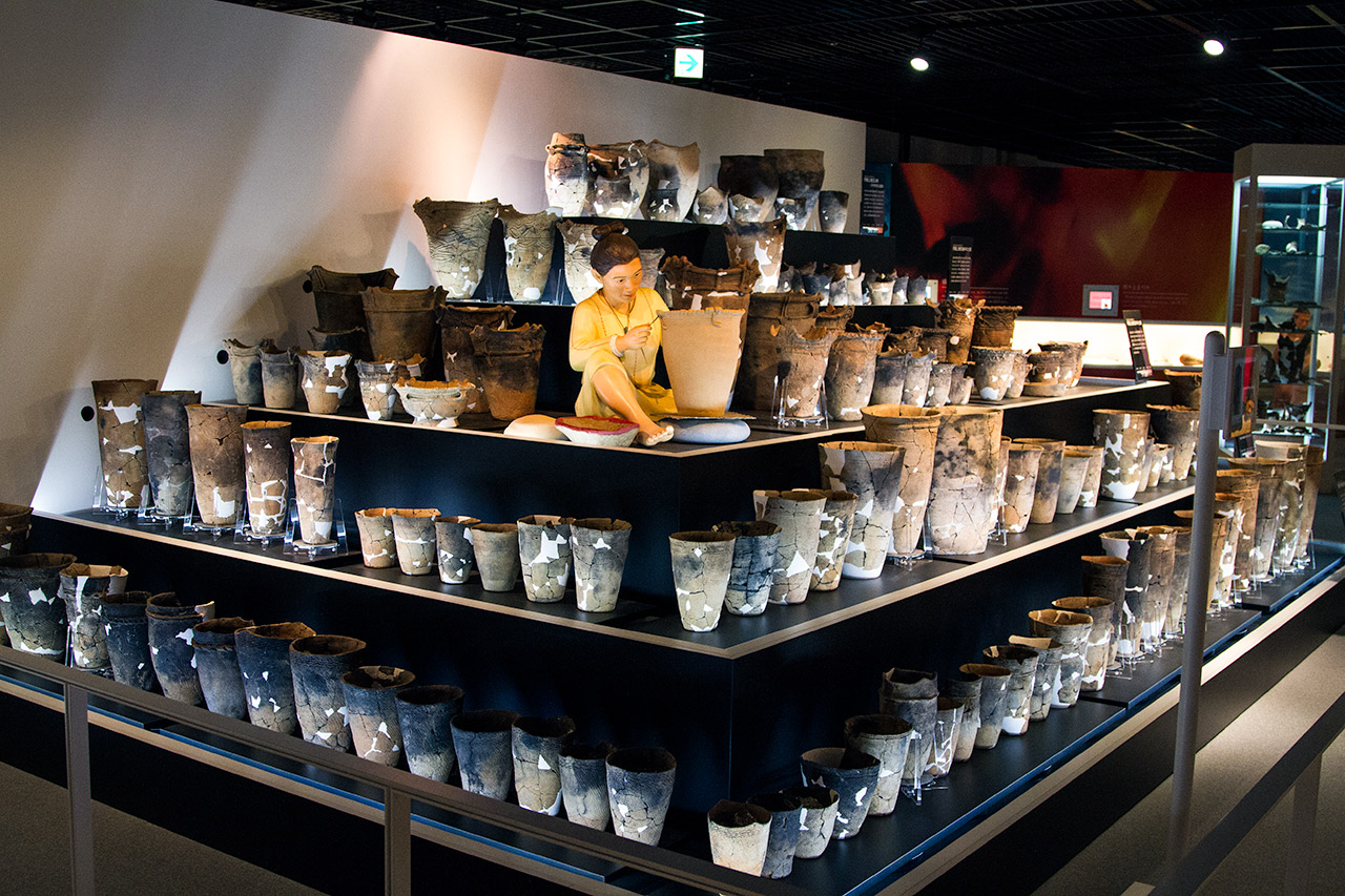 display of Japanese pottery artifacts