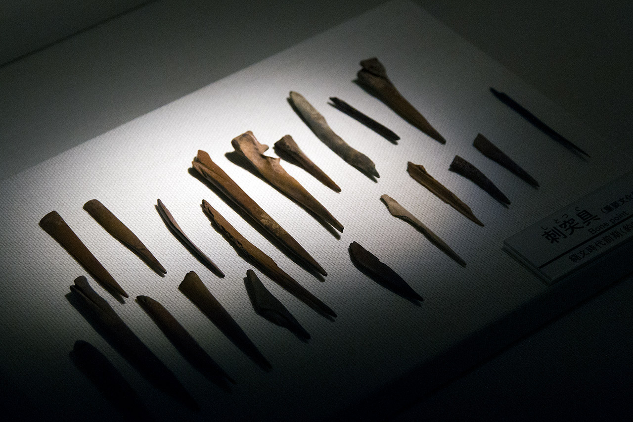 wood tool artifacts on display in Japanese museum
