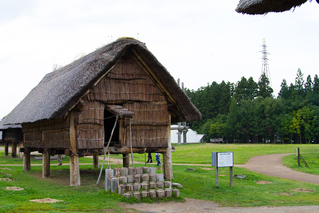 Japanese thatch hut on support pillars