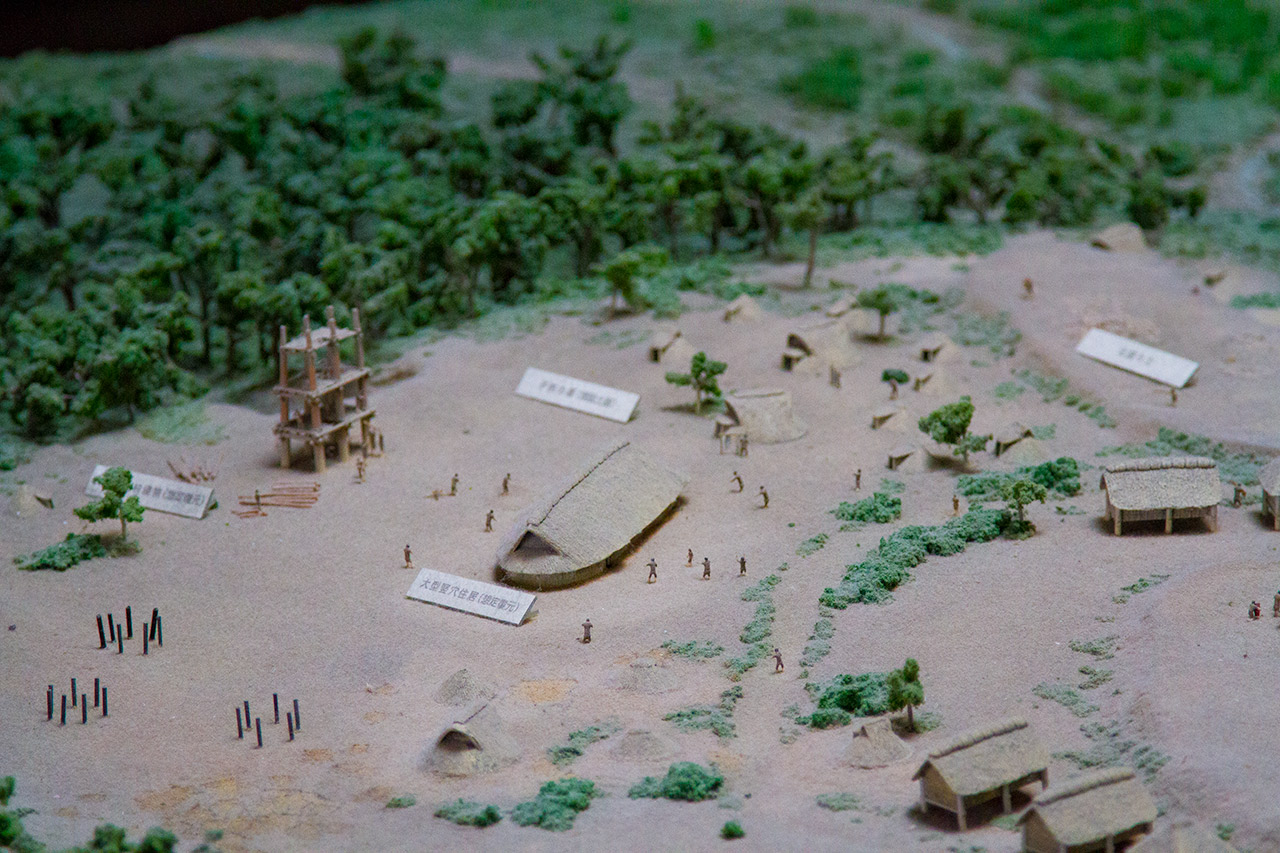 diorama of Japanese village close view
