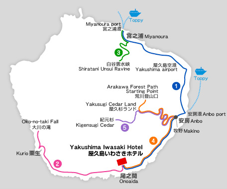 travel map of yakushima island