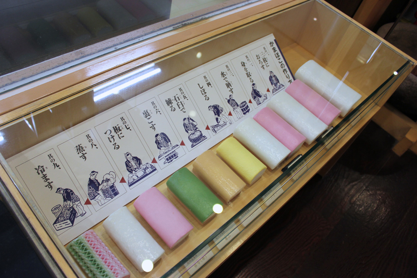 display case showing finished kamaboko fish rolls