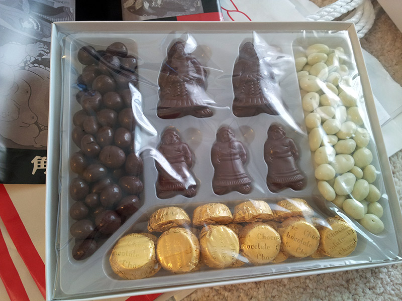 wretler-shaped chocolates and assorted others