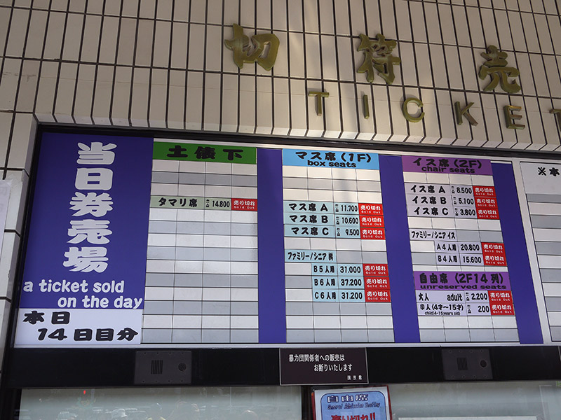 ticket board with prices