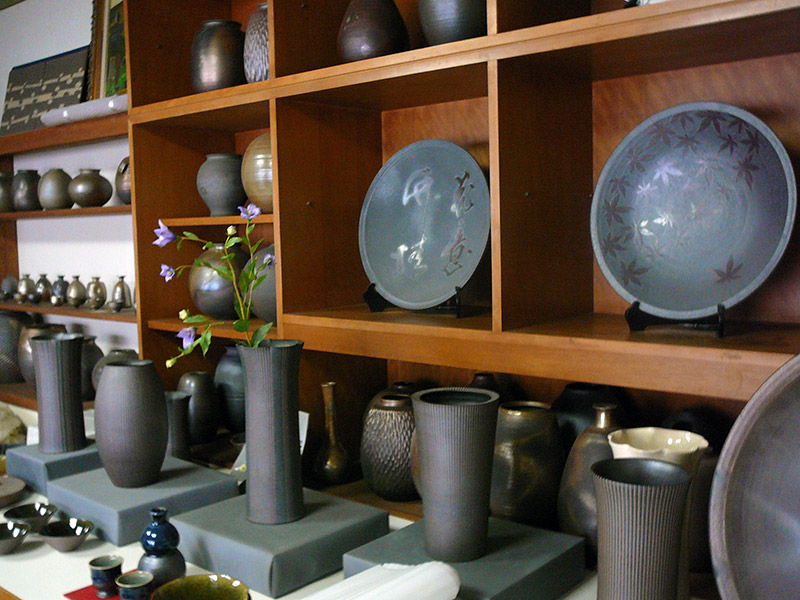 pottery on shelves