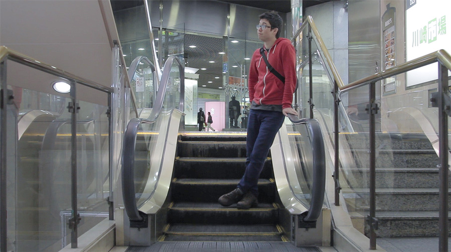 Riding down the world's shortest escalator