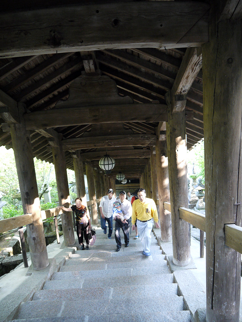japanese people climbing stairs shrine