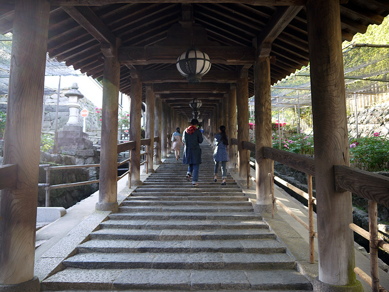 japanese wooden staircase shrine