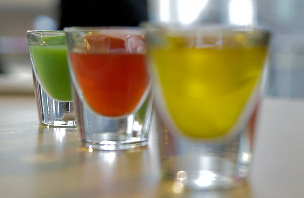 A line of Russian roulette drink shots at NicoNico Cafe