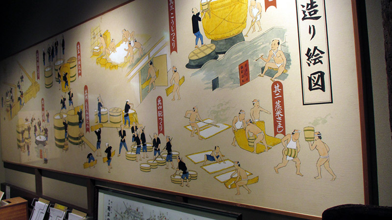 visual description of sake making in japan museum