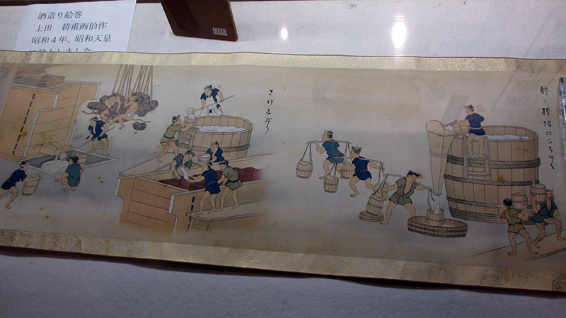 old japanese painting of sake making