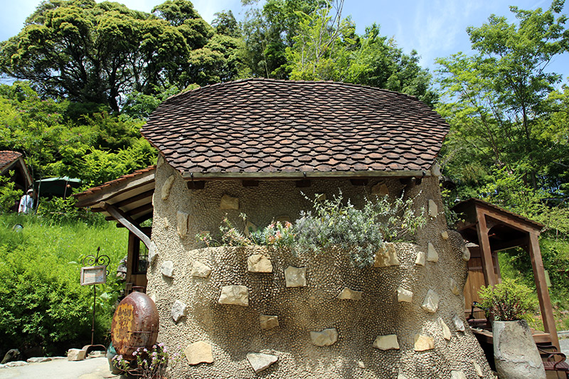 small squat building at ghibli village in japan