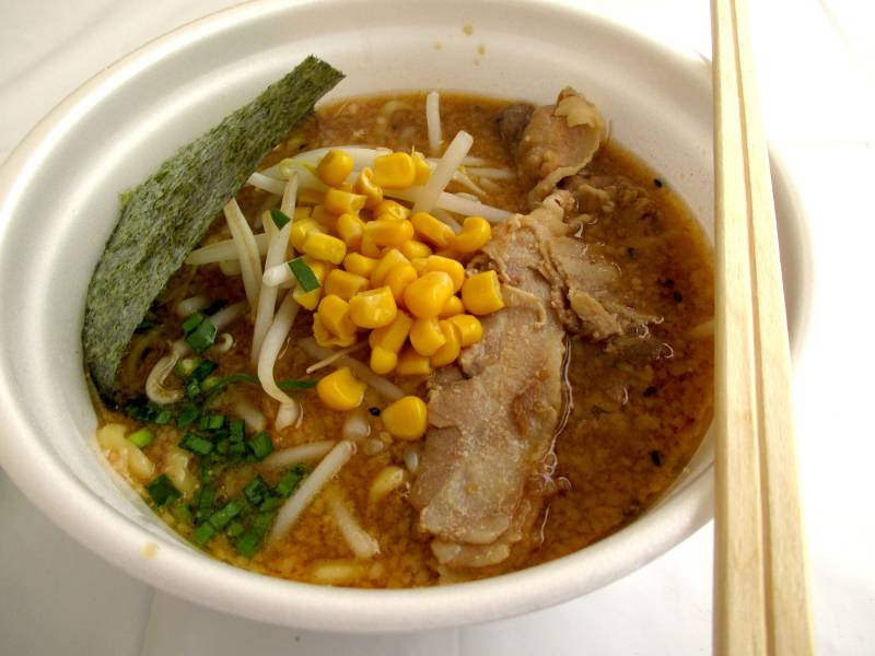miso ramen in plastic bowl pork broth