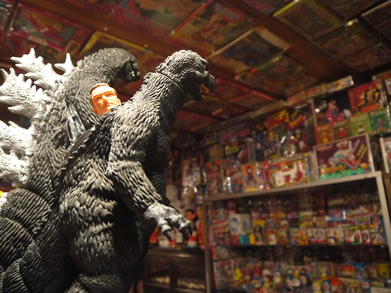 Two large toys of Godzilla