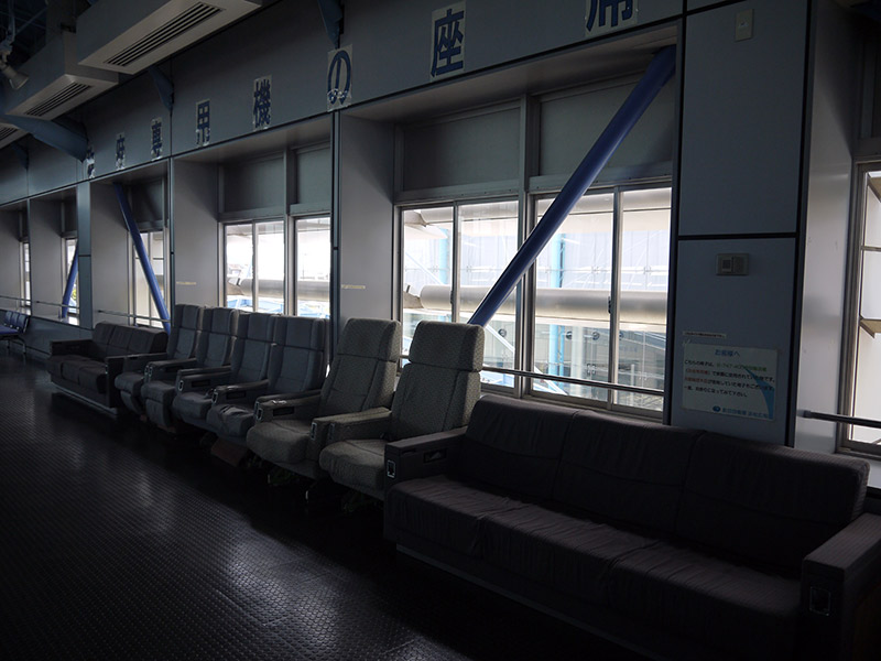 A row of seats from a government transport aircraft