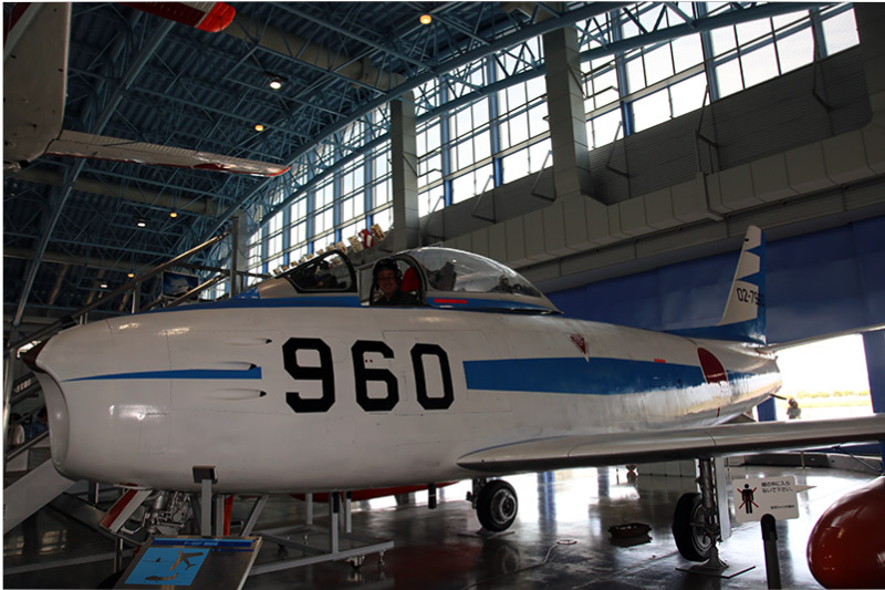 An F-86F Sabre fighter jet inside the museum