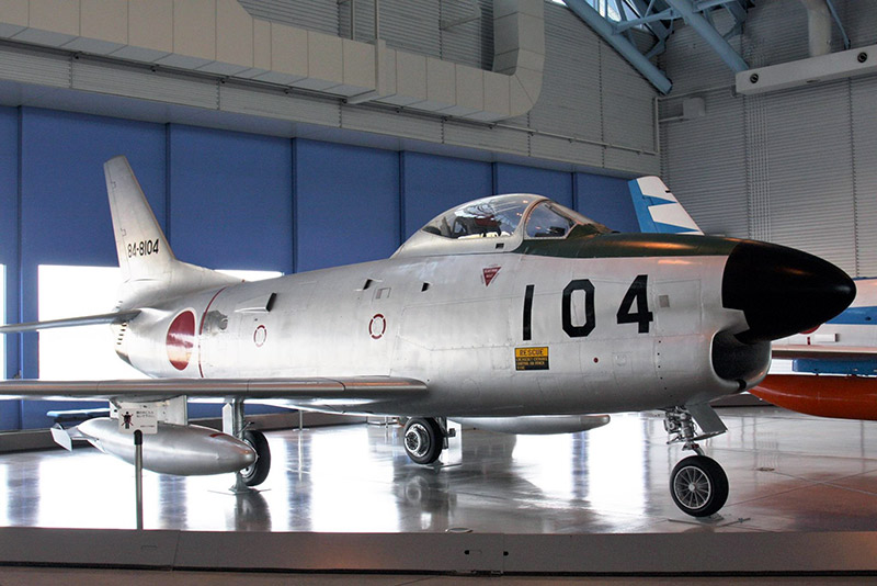 The F-86D, a variant of the F-86, inside the museum