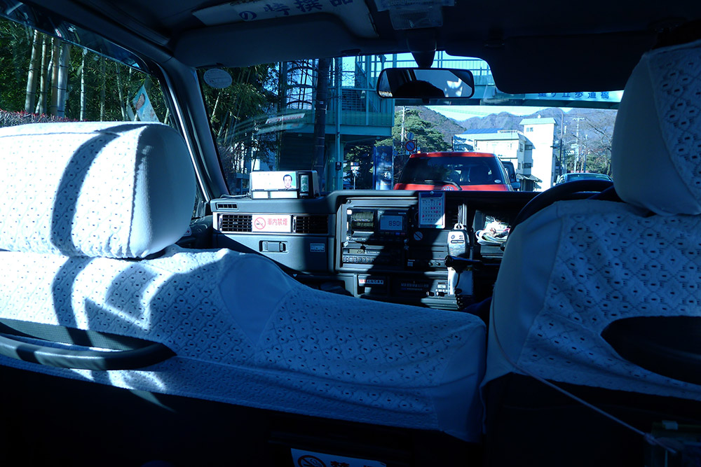 the back of a taxi in japan