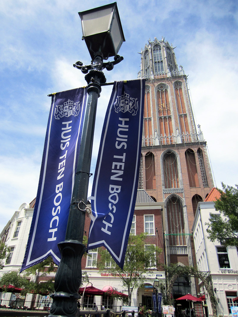 lamppost blue banner big building european style