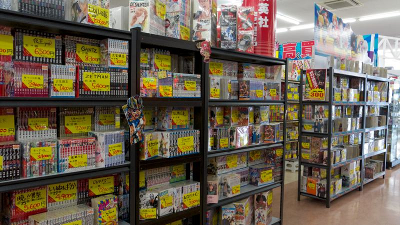 japanese recycle shop display sets of Manga