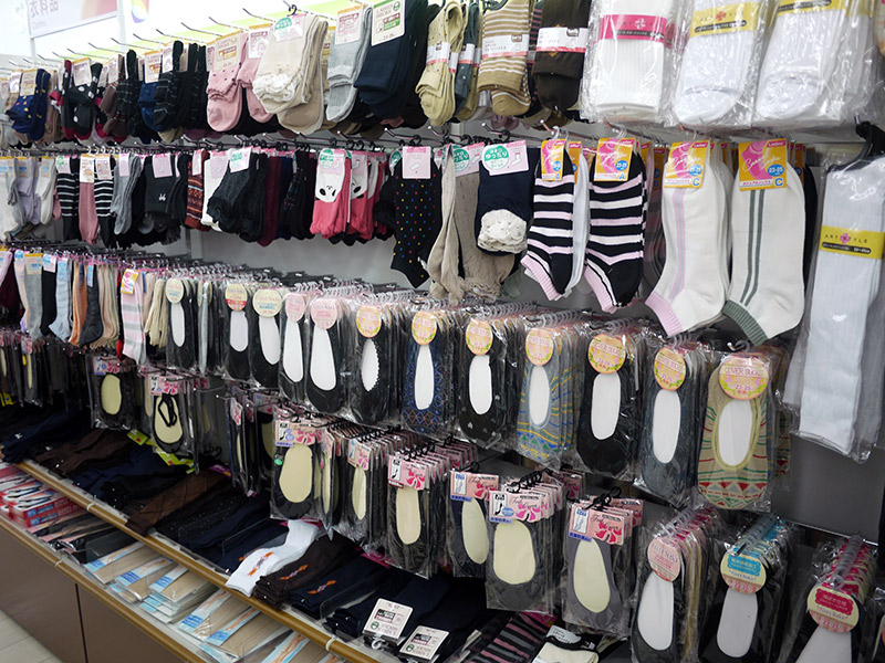 Socks in pairs hanging up
