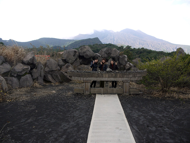 Buried torii gate at Sakurajima
