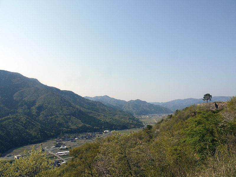 view of valley below from takeda castle