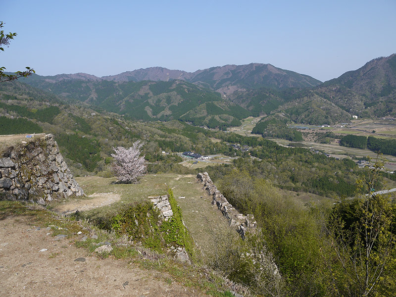 castle ruins and hills in the background