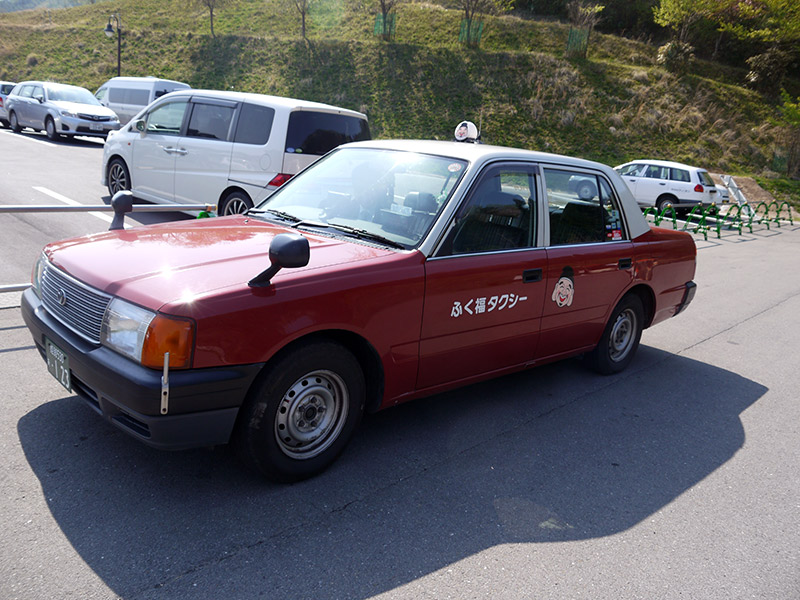 Japanese red taxi cab