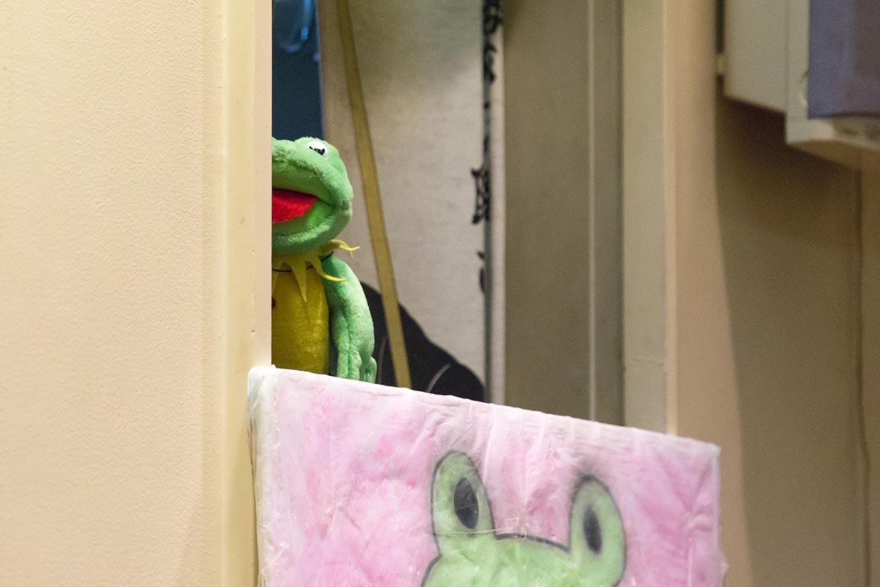 Mark Kagaya's frog puppet prop