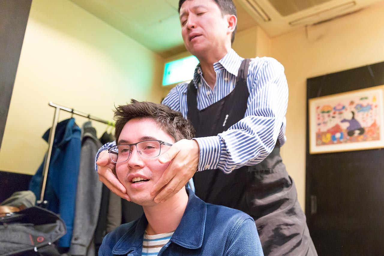 Mark Kagaya giving Koichi a sensual face massage
