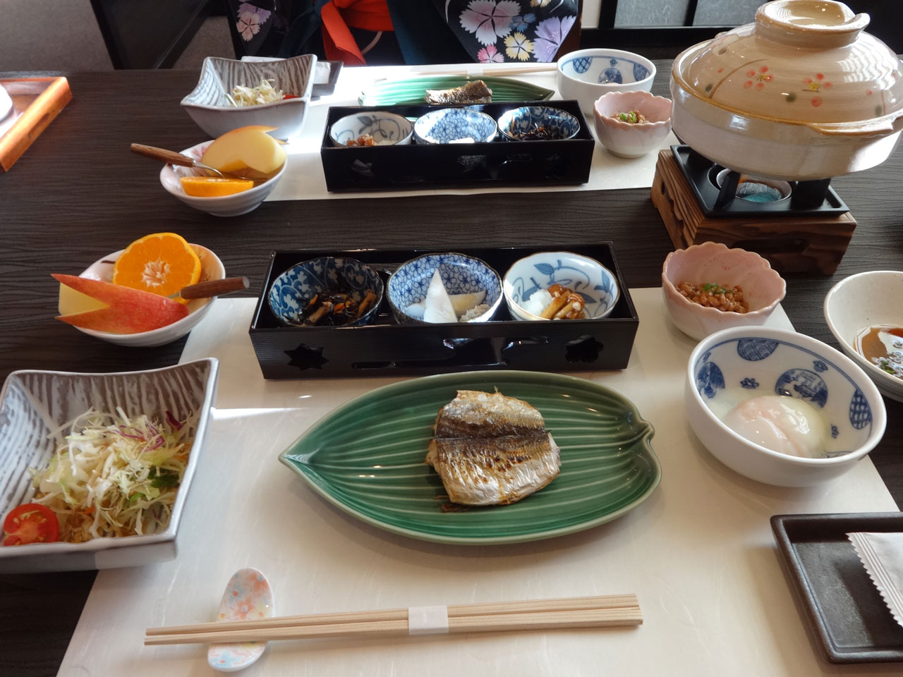 breakfast at an onsen hotel