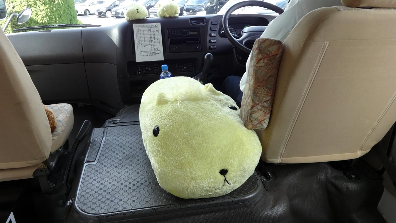 kapibara-san plush in a japanese car