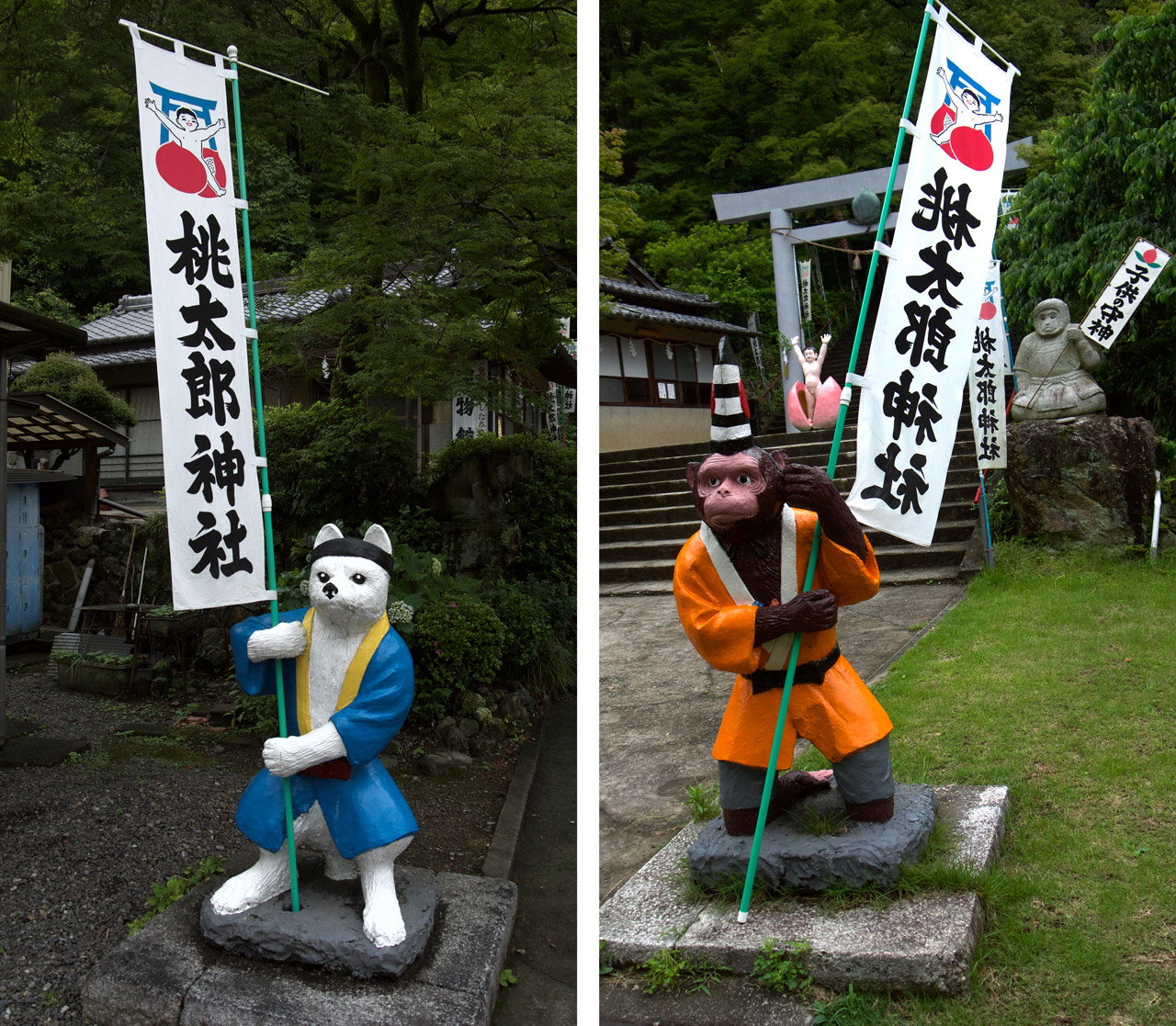 dog and monkey statues at momotaro shrine