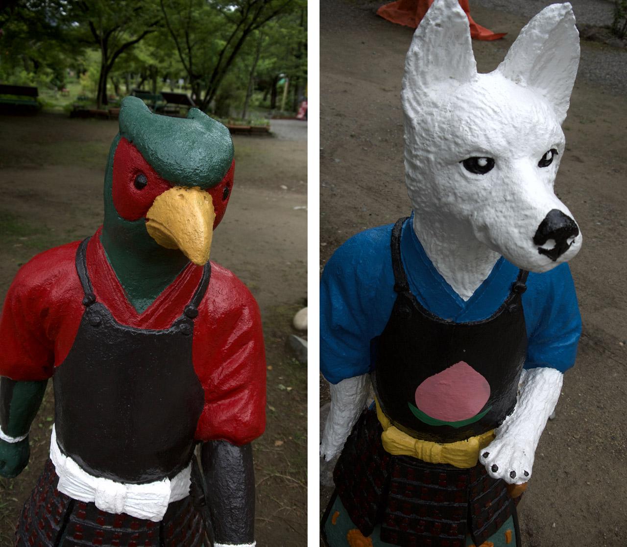 momotaro dog and pheasant sculptures