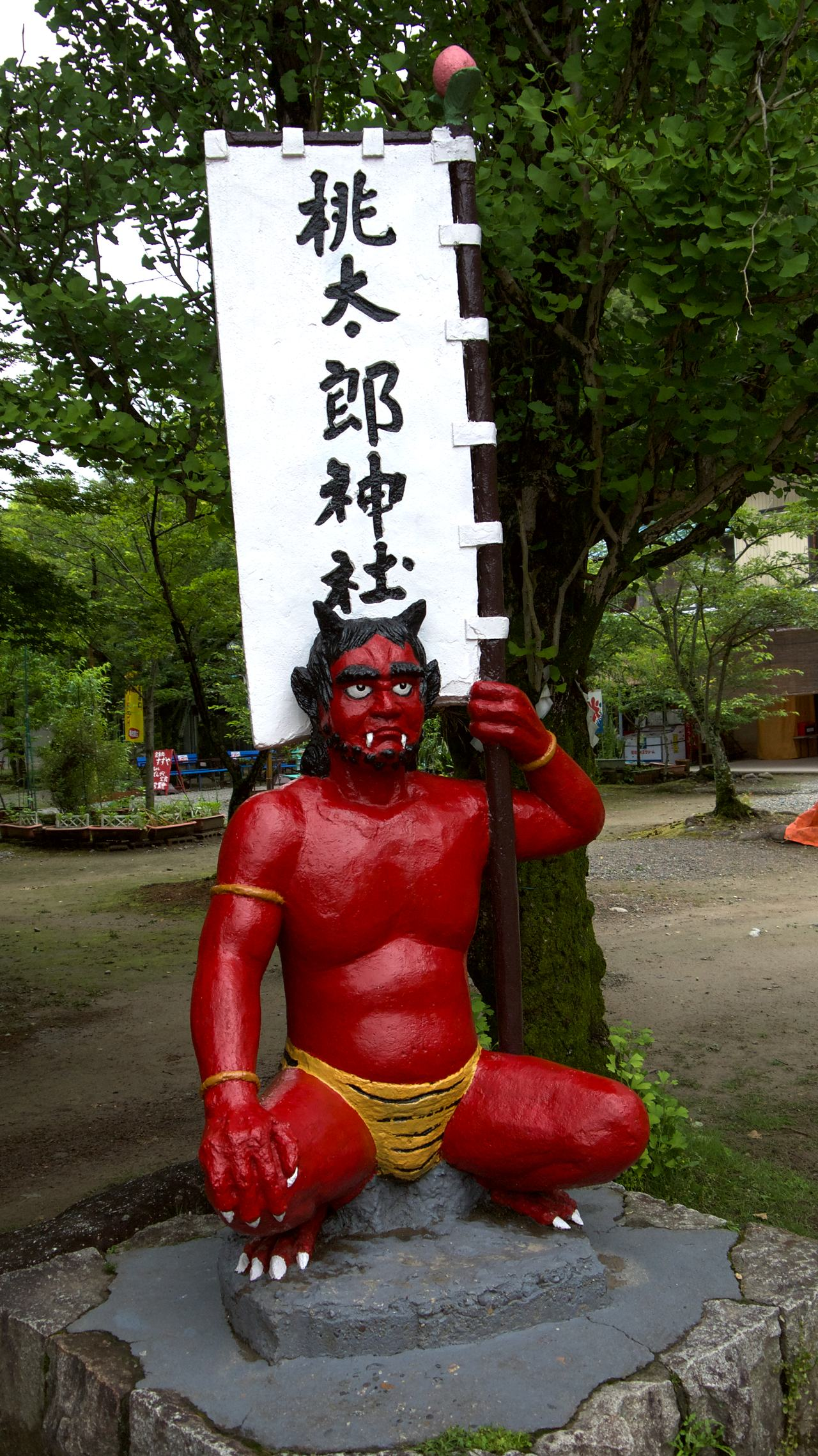 japanese demon holding a flag